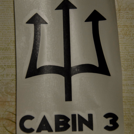 Vinyl Sticker, Percy Jackson Inspired Camp Half-Blood Cabin 3, Decal, White or Black