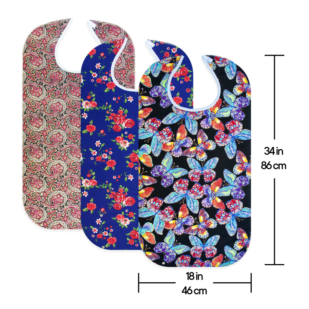 RMS - 3 Pack Washable Reusable Waterproof Adult Bib