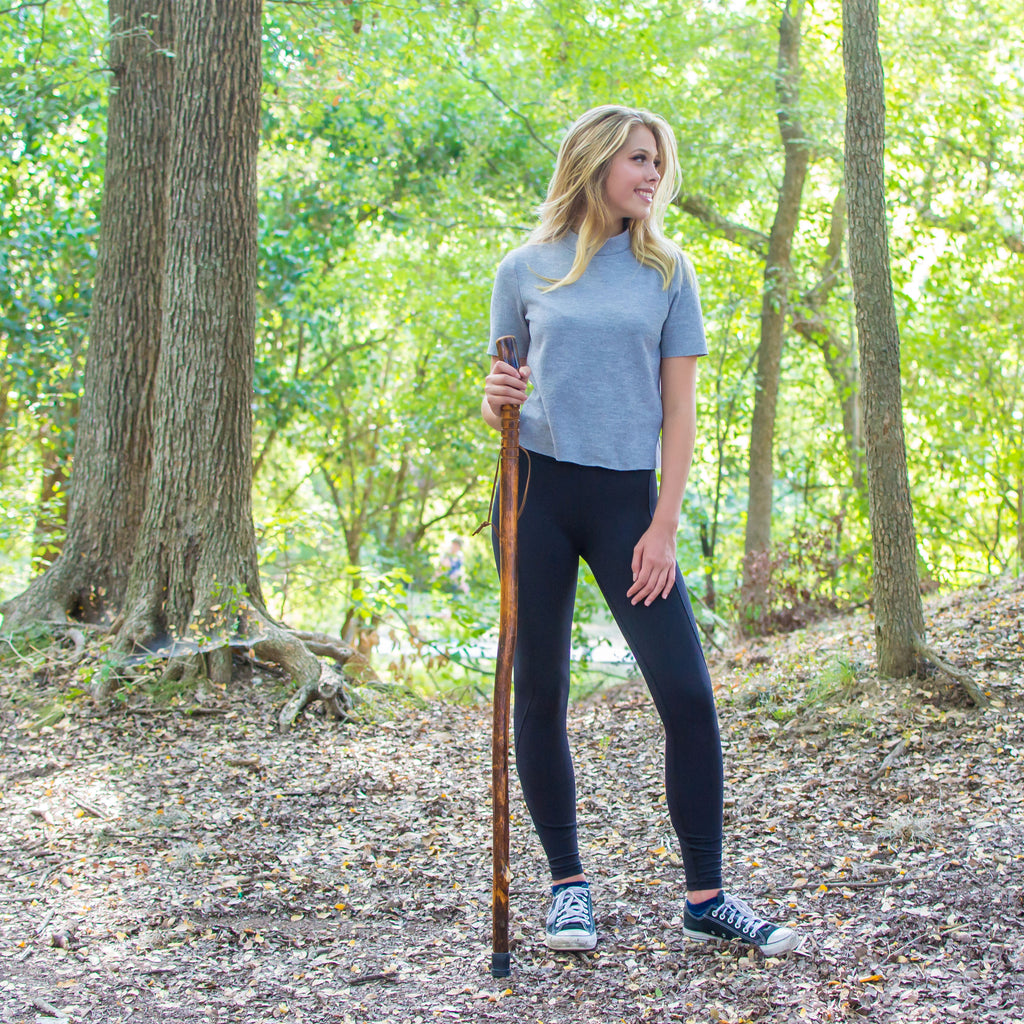 "RMS Outdoors - 48"" Natural Wood Hiking/Walking Stick Grooved Handle"