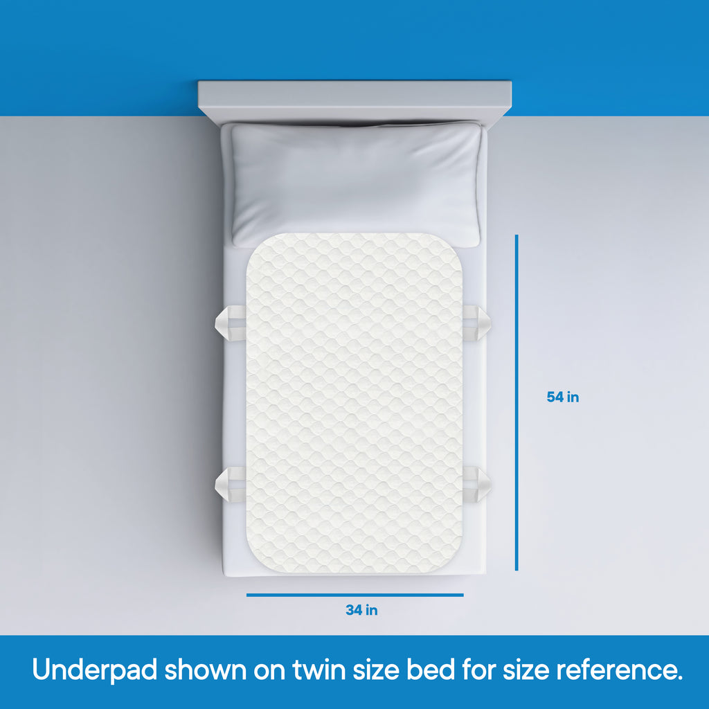 "RMS - 34"" x 54"" (with 4 handles) Ultra Soft 4-Layer Washable and Reusable Incontinence Bed Underpads"