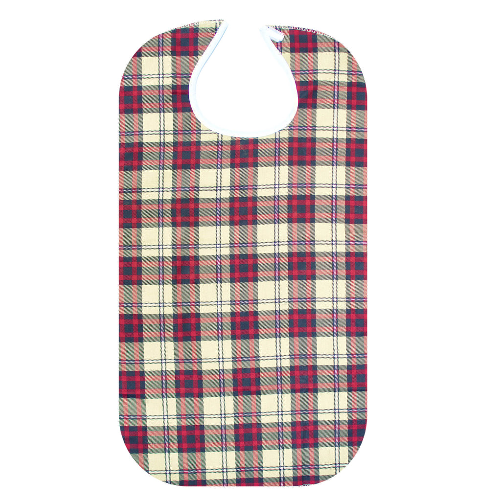 RMS Health - Checks Washable Reusable Waterproof Adult Bib