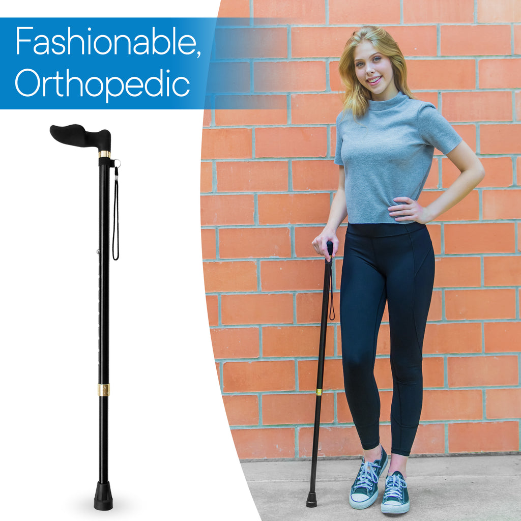 RMS Outdoors - Walking Cane with Palm Grip Orthopedic Handle for Right Hand