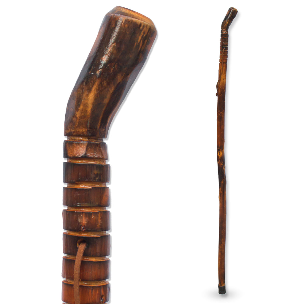 "RMS - 48"" Natural Wood Hiking/Walking Stick Grooved Handle"
