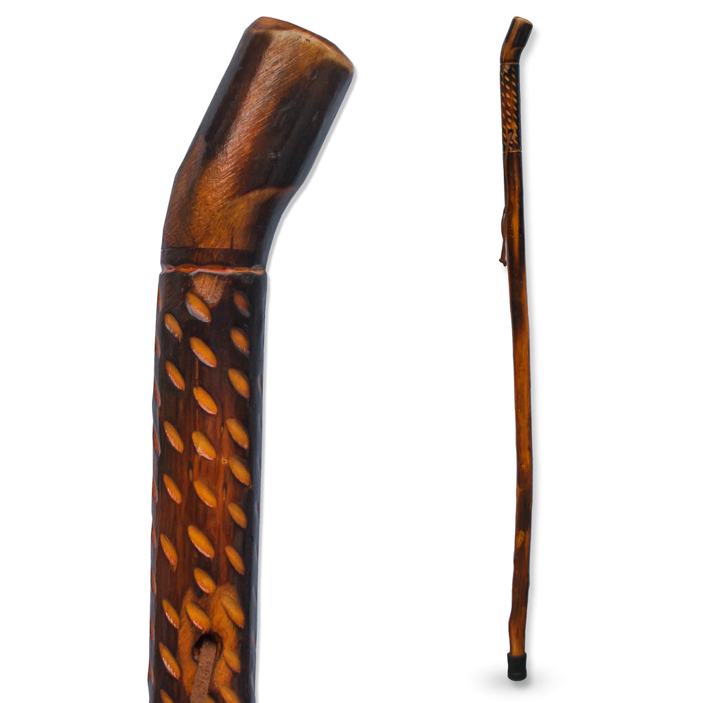 "RMS - 48"" Natural Wood Hiking/Walking Stick Rain Drop Handle"
