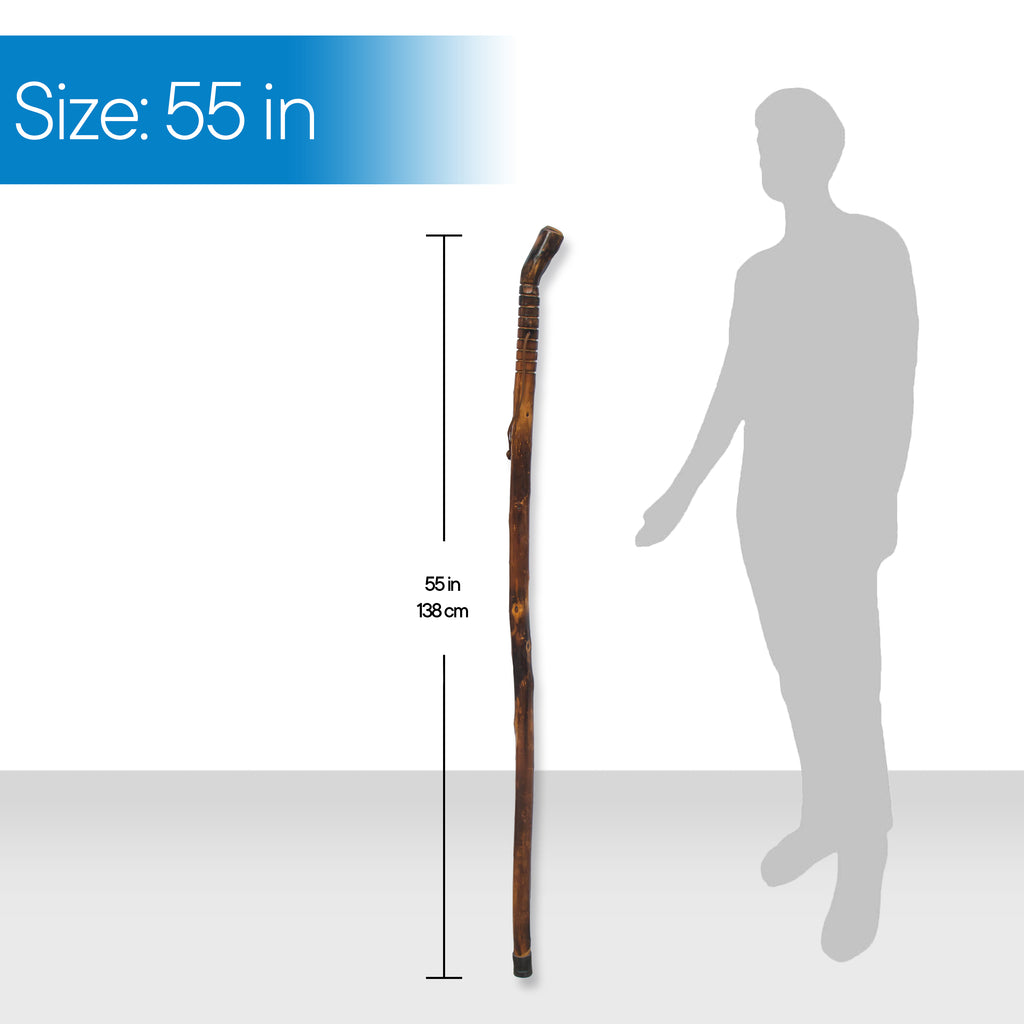 "RMS Outdoors - 55"" Natural Wood Hiking/Walking Stick Grooved Handle"