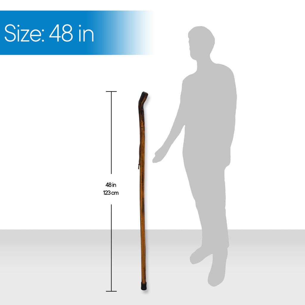 "RMS Outdoors - 48"" Natural Wood Hiking/Walking Stick Smooth Handle"
