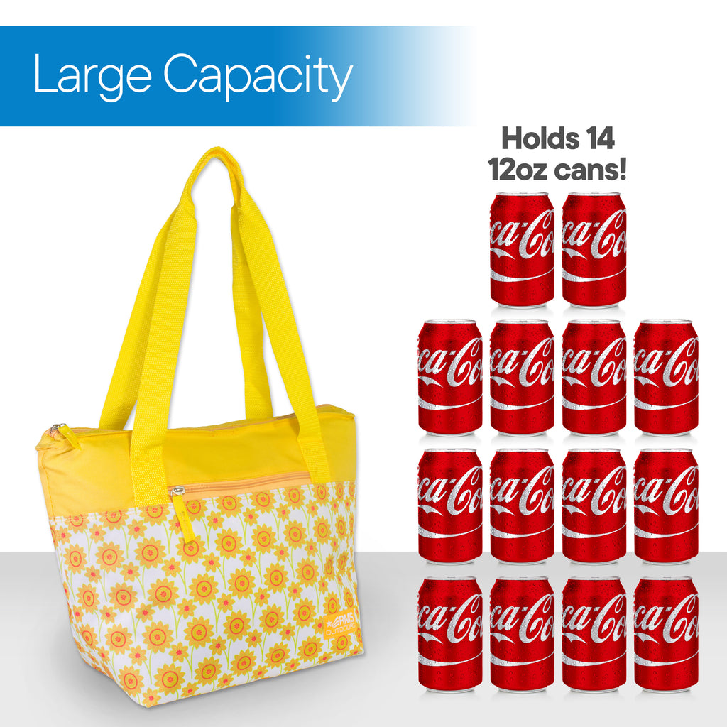 RMS - 14 Can Cooler Tote (Yellow Flower)