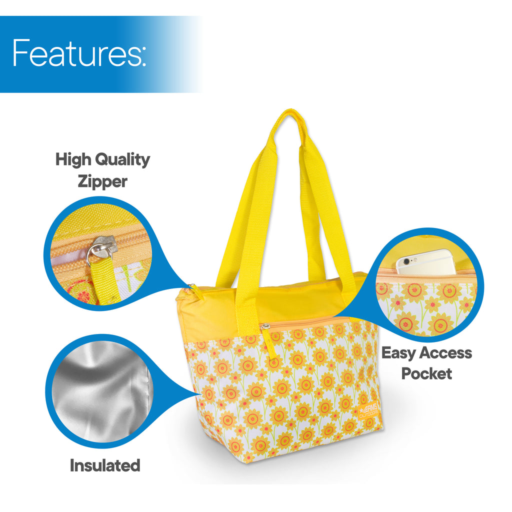 RMS Outdoors - 14 Can Cooler Tote (Yellow Flower)