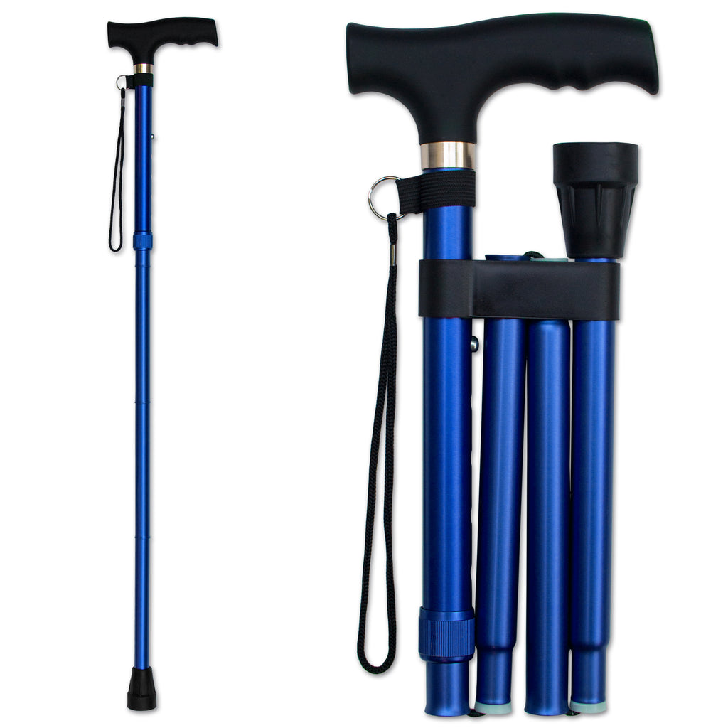 RMS - Blue Folding Cane with Adjustable Height