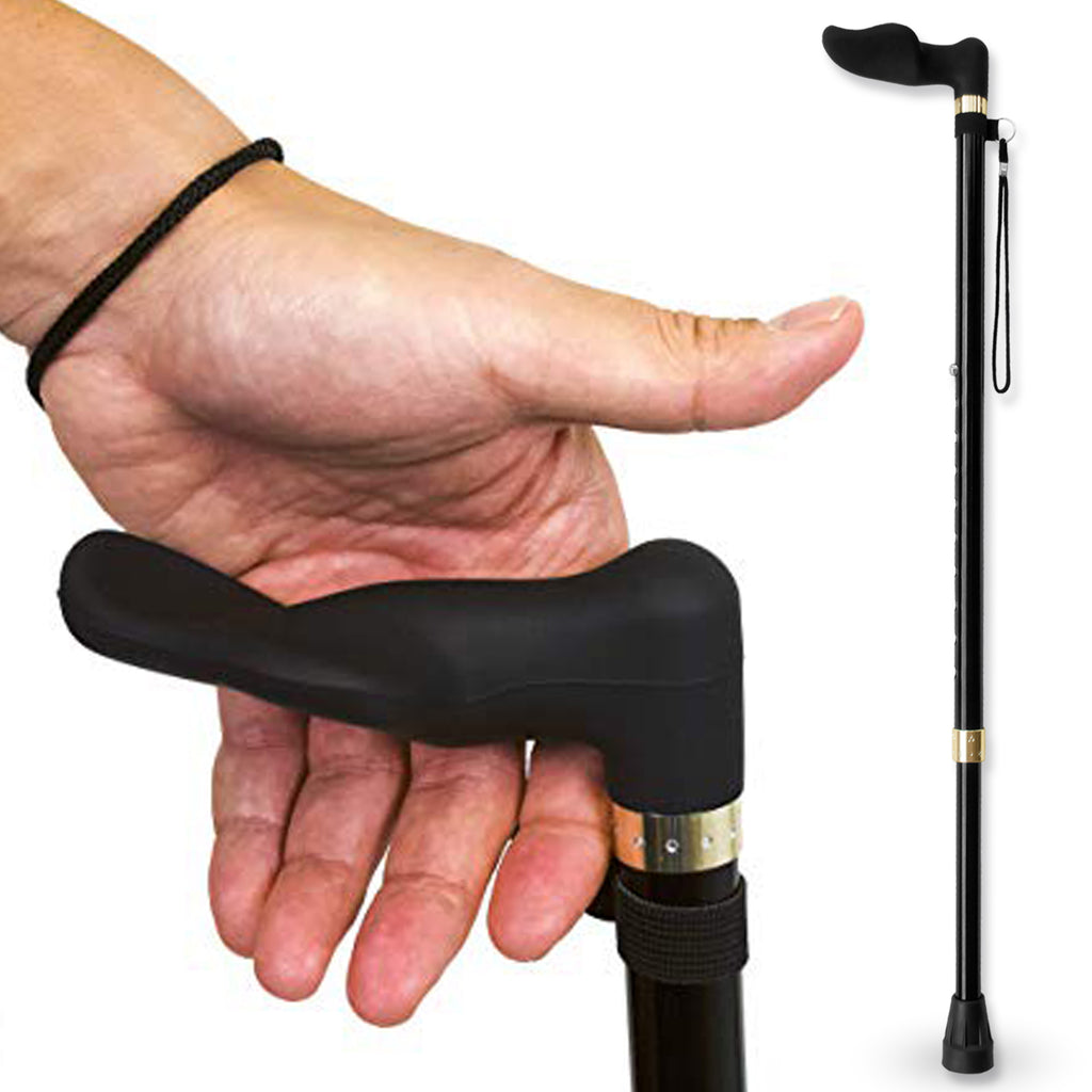 RMS Outdoors - Walking Cane with Palm Grip Orthopedic Handle for Left Hand