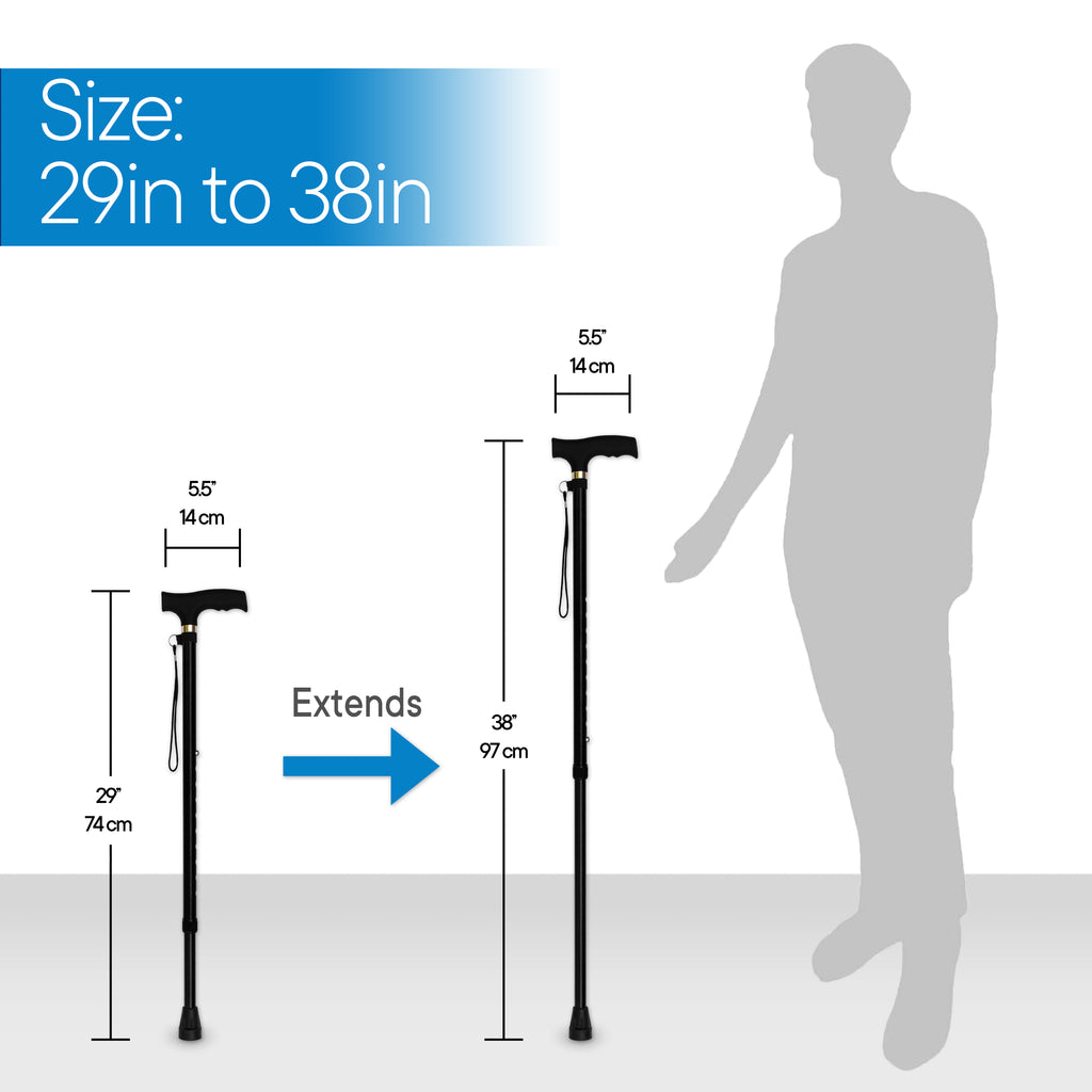 RMS Outdoors - Black Adjustable Walking Cane