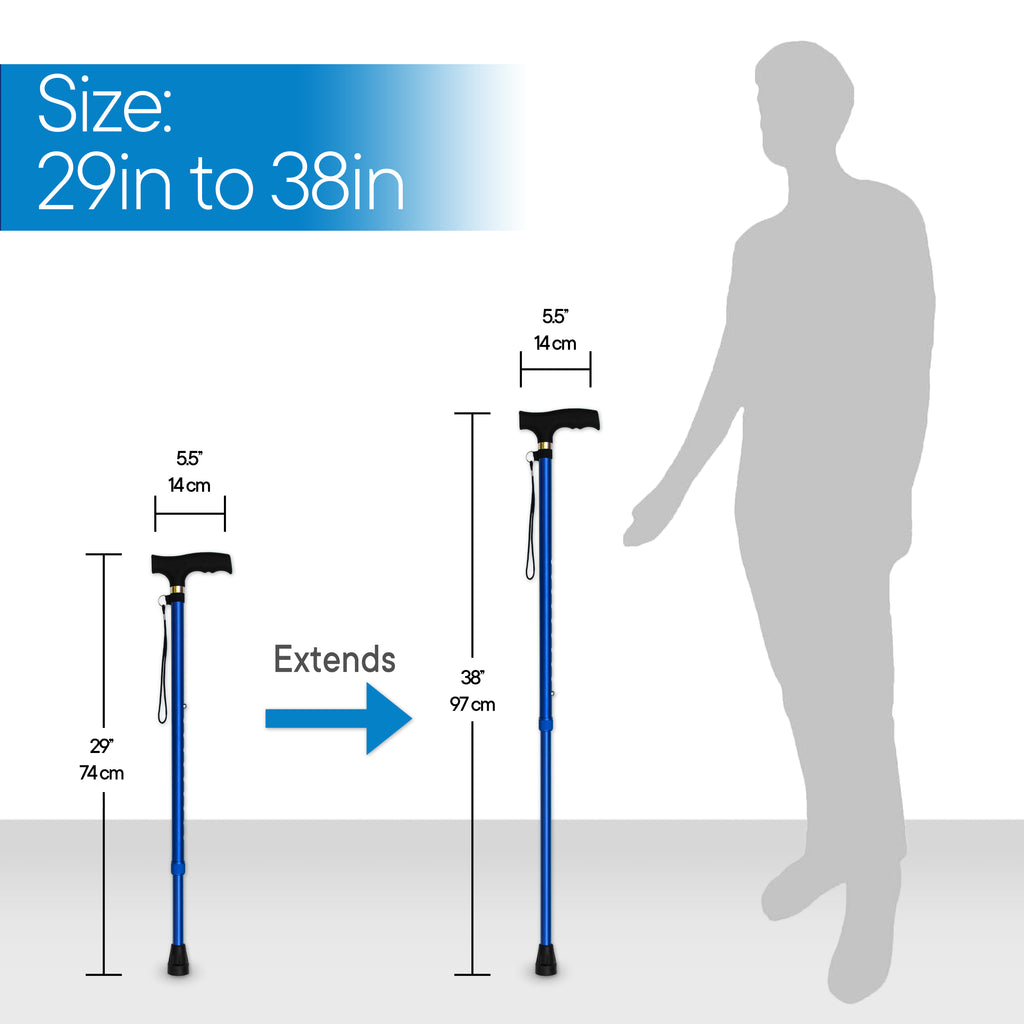 RMS Outdoors - Blue Adjustable Walking Cane