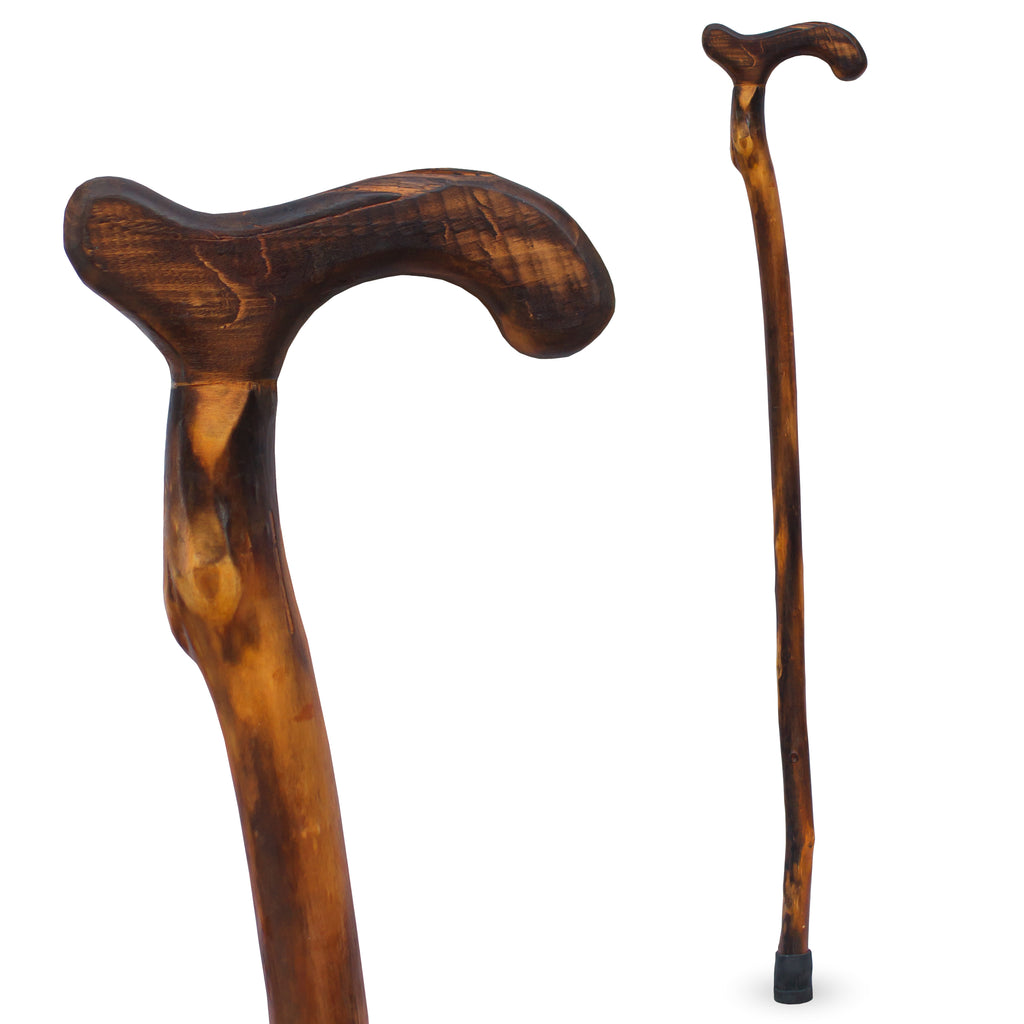 "RMS - 36"" Natural Wood Walking Stick Smooth Derby Handle"