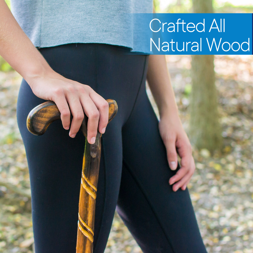 "RMS - 36"" Natural Wood Walking Stick Spiral Derby Handle"