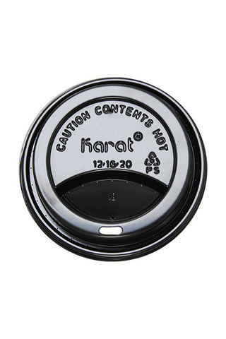 Black Sipper Dome Lids for 12-20oz Paper Hot Cups