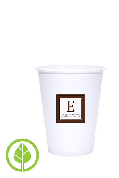 12oz Printed Eco-Friendly PLA-Lined Hot Cups - 1000 pieces