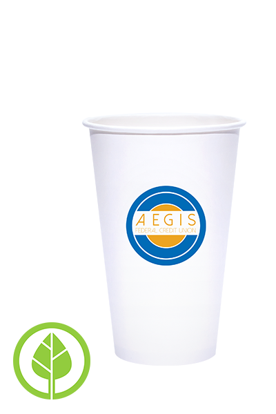 16oz Printed Eco-Friendly PLA-Lined Hot Cups - 250 pieces