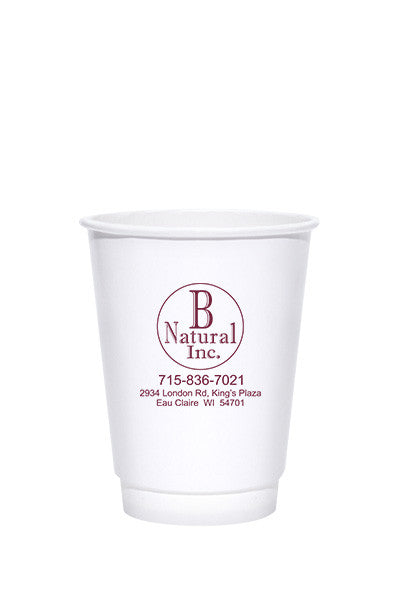 12oz Printed White Insulated Paper Hot Cups - 500 pieces