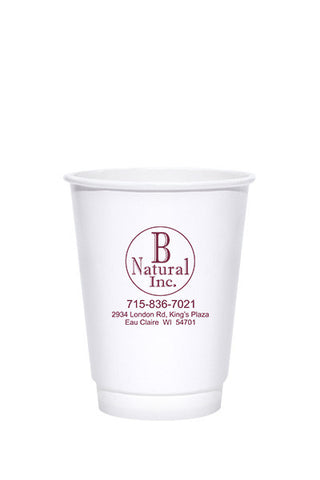 12oz Printed Kraft Insulated Paper Hot Cups - 250 pieces