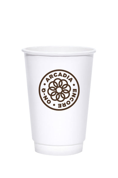 16oz Printed White Insulated Paper Hot Cups - 500 pieces