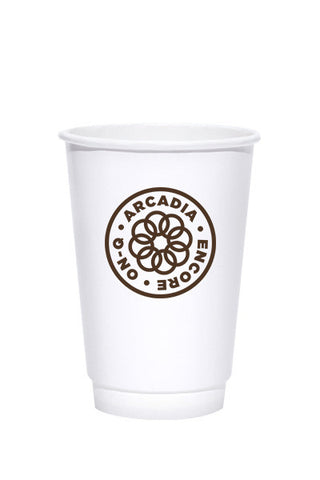 16oz Printed Kraft Insulated Paper Hot Cups - 250 pieces