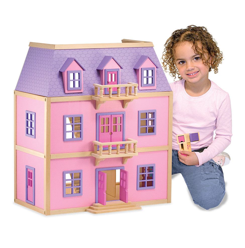 Melissa & Doug Multi-Level Wooden Dollhouse with 19 Pieces of Furniture and 2 Play Figures