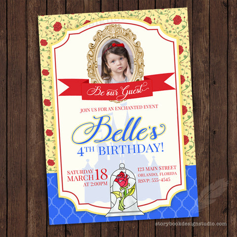e01e758b978 This theme is truly a Tale as Old as Time. We ve made this invitation for  baby showers