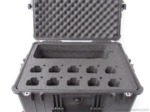 Precut - Pelican Case 1610 Custom Foam Insert For Motorola CP200 Walkie Talkie Radio And Charger