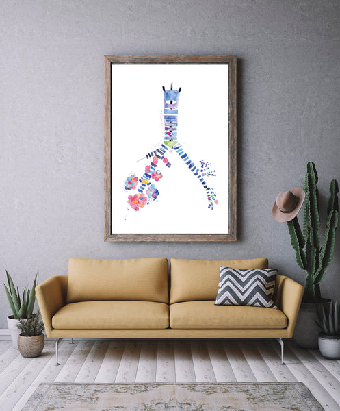 Pulmonology Abstract Anatomy Art, Respiratory Therapist Art