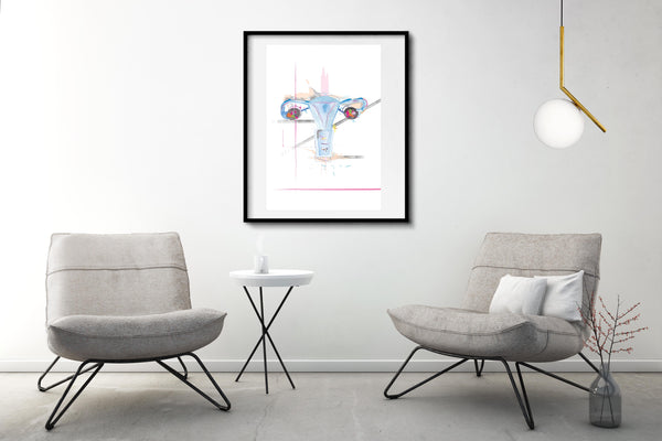 Uterus Anatomy Art Print, Abstract Anatomy Artwork OBGYN Office