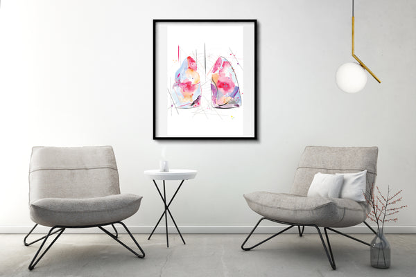 Lung Anatomy Print, Respiratory Therapy Office Art, Modern Medical Office Wall Art