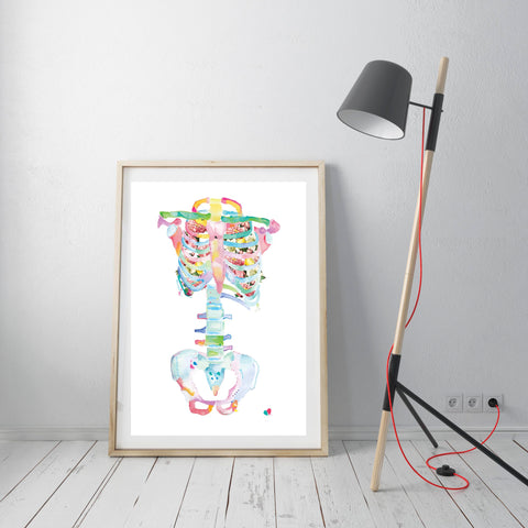 Anatomy Flower Art Print, Abstract Anatomy Wall Decor