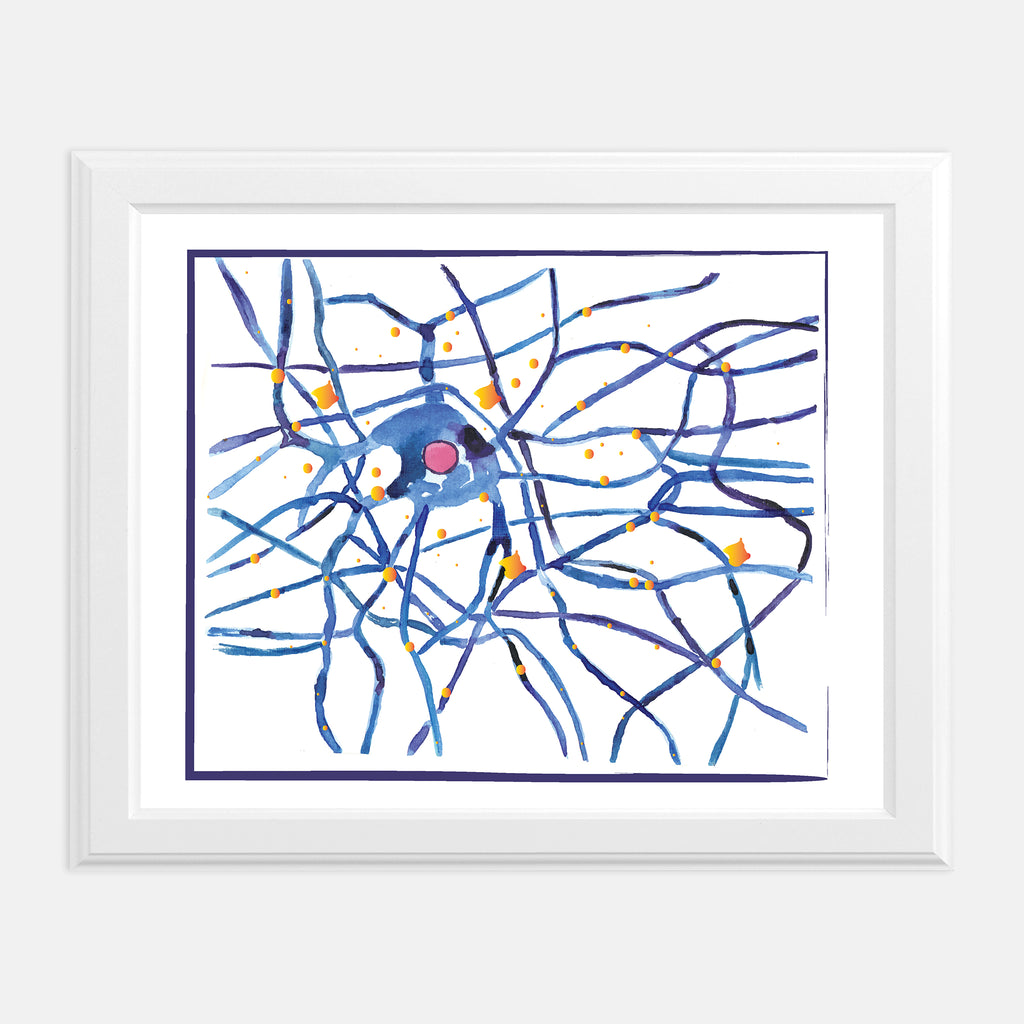 neuron watercolor wall art