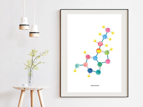 Serotonin Art Print, Biochemistry Art, Psychiatry Artwork, Psychologist GIft