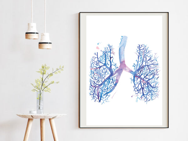 Lung Anatomy Artwork, Pulmonology Wall Decor, Respiratory Therapist Gift