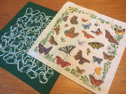 Bandanna's - Set of 2 - Butterflies & Carabiners - Free Shipping! (On this Item Only)