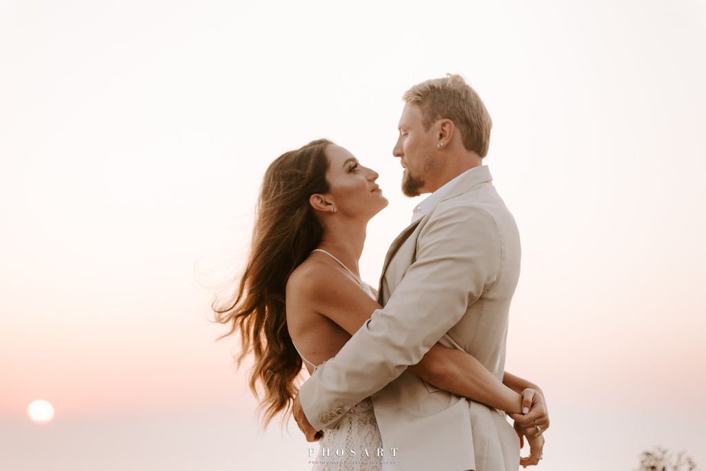 Bridal sunset photoshoot  in Greece