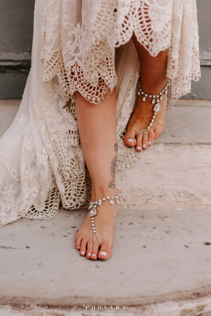 silver chain barefoot sandals for bohemian wedding