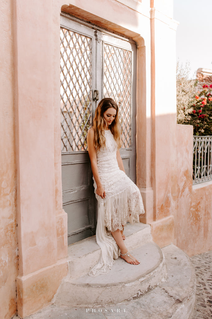 bohemian lace dress in santorini