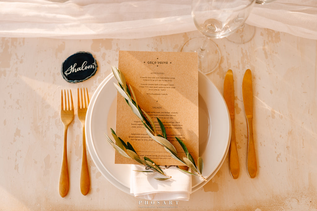 olive leaves table decor for Greek theme wedding