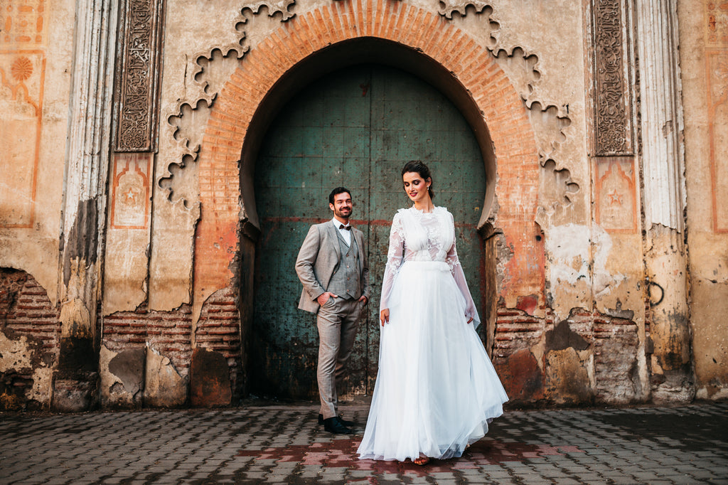 Wedding boho style dress with bell sleeves or dream catcher details
