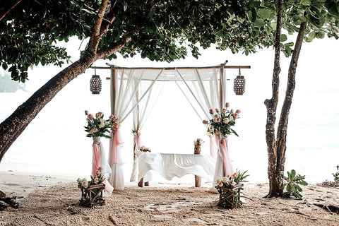Your tropical, romantic beach wedding Seychelles Ceremony under palm trees, civil ceremony conducted by registrar in cooperation with wedding planner.
