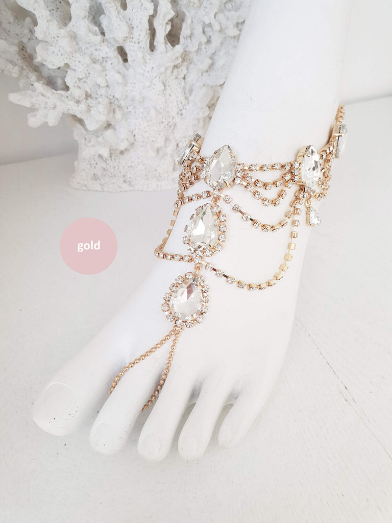 Rhinestone Anklet, Bridal Barefoot Sandals, Boho Slave Anklet, Beach Wedding Feet Jewelry, Ankle Bracelet, Destination Wedding, Gift /AFIA/