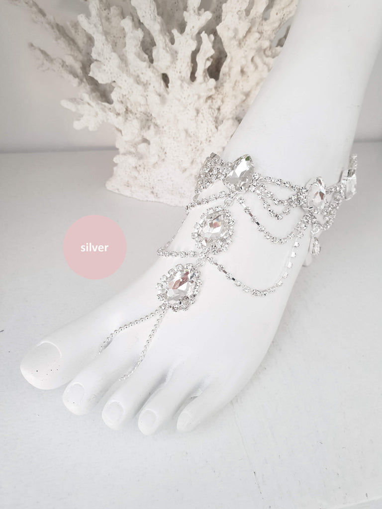 Rhinestone Anklet, Bridal Barefoot Sandals, Boho Slave Anklet, Beach Wedding Feet Jewelry, Ankle Bracelet, Destination Wedding, Gift AFIA|L