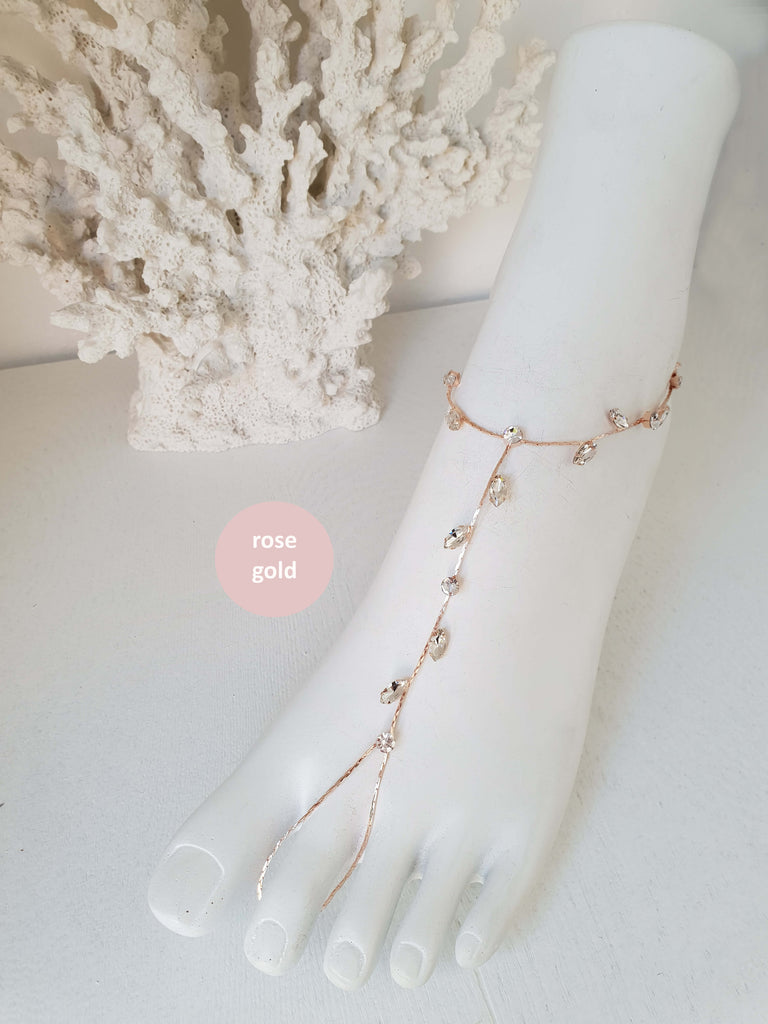 Barefoot Sandals Beach Wedding Jewelry Foot Jewelry Bohemian Wedding Sandals Anklet Foot Thong Rhinestone Sandals Bridesmaids Gift