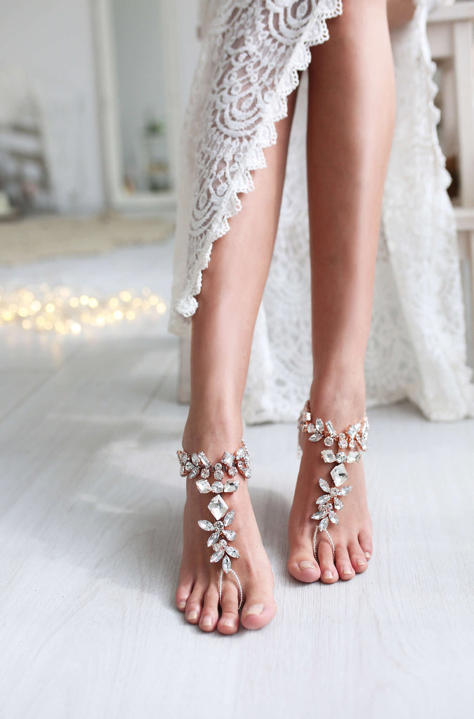 rose gold barefoot wedding shoes
