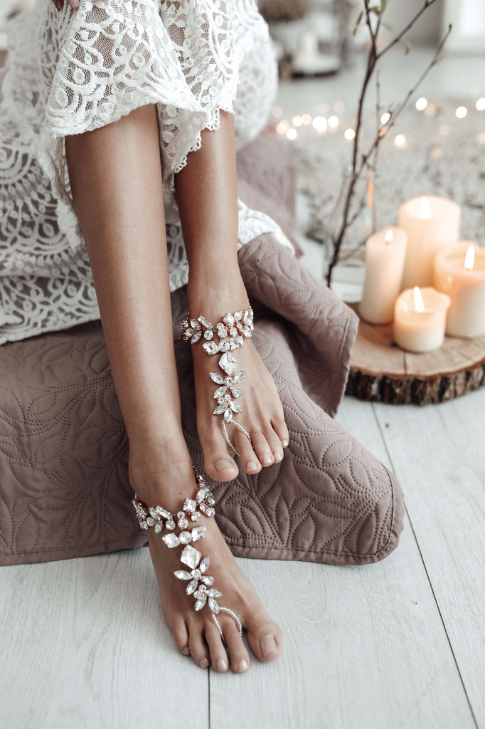 rose gold bridal foot jewelry