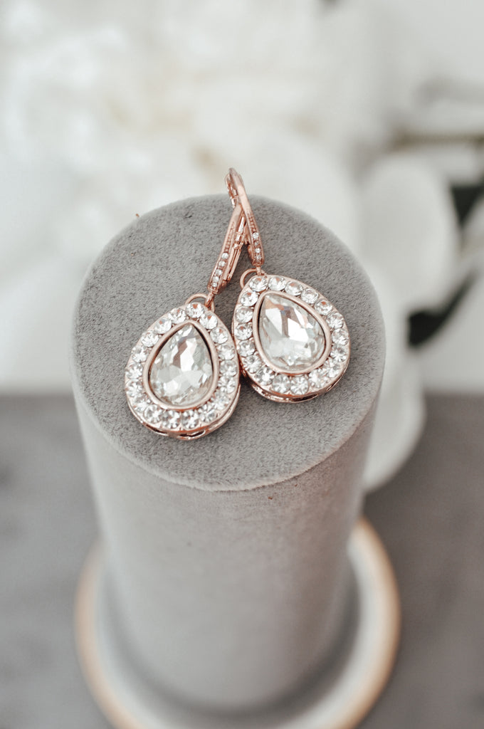 Crystal Bridal earrings, Rose Gold Wedding jewelry Swarovski Crystal Wedding earrings Bridal jewelry, Ariel Rose Gold Drop Earrings