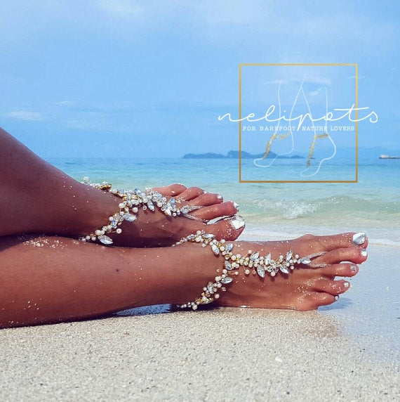 bridal barefoot sandals with pearls