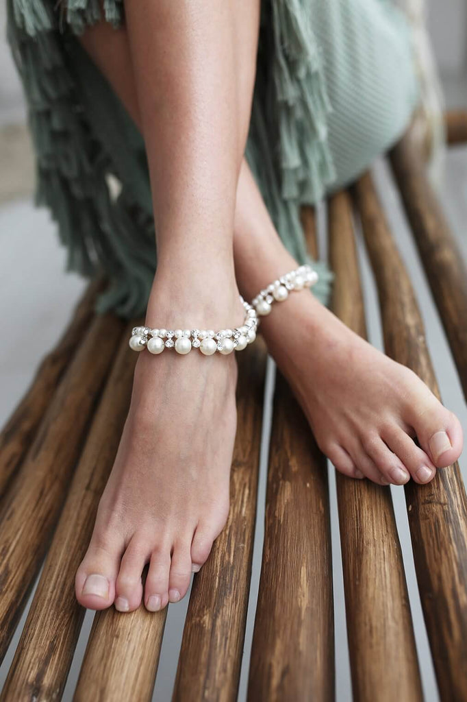 silver pearl ankle jewelry for beach wedding
